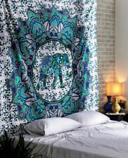 Mandala Blue Elephant Print Tapestry Wall Hanging Decor Queen Size Bedspread