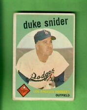 1959 TOPPS #20 DUKE SNIDER LOS ANGELES DODGERS HALL OF FAME POOR