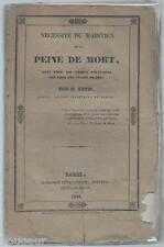 URTIS Nécessité du maintien de la Peine de Mort crimes politiques ou Privés 1831