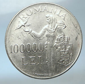 1946 ROMANIA under Michael I w Romanian Lady and Bird Silver Vintage Coin i73849