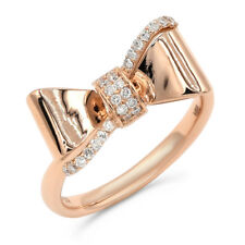 Love Knot Cocktail Right Hand Ring 14K Rose Gold Pave Diamond Bow
