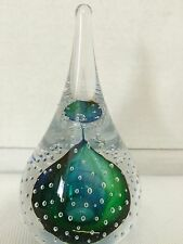 Wykonano W Polsce Blue Green Tear Drop Controlled Bubble Paperweight Poland NWTS