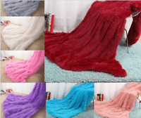 New Fur Shaggy Blanket Cozy Sheet Soft Bedding Reversible Warm Throw Blanket Mat