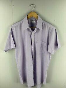 Pierre Cardin Men's Short Sleeve Shirt - Size 15 - Purple Stripe