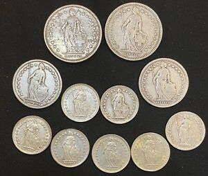 Swiss Silver Franc Coin Lot - 2FR 1FR 1/2 FR - 11 Coins - 1894 To 1957 - 43 Gr.