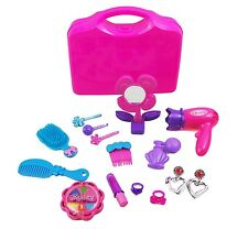 Girls Toy Vanity Beauty Cosmetic Bag Carry Case Hair Dryer Make Up Gift Set 4256