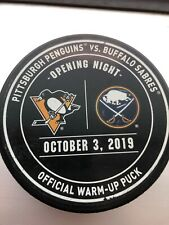 Buffalo Sabres Vs. Pittsburgh Penguins 2019 Opening Night Official Warm Up Puck