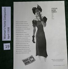 Crown Rayon Fabrics Ad, 1938; Dreskin Coolies Facial Cleanser Ad
