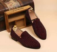 Mens Spike suede pointy Punk Studded rivet Loafer casual slip on dress shoes