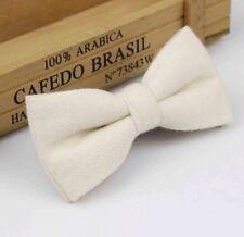 Vintage White Cream Tweed / Wool Pre-Tied Mens Bow Tie. Great Reviews. UK.