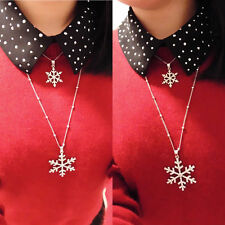 Alloy Rhinestone Crystal Double Snowflake Pendant Sweater Chain necklace Silver