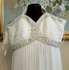 NWT DB STUDIO DAVID'S BRIDAL IVORY BEADED RHINESTONE SEQUINED EMPIRE GOWN DB3891