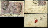1855-57 4d Carmine small garter pair used on small envelope Sg 62 V70393