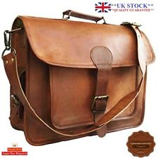 "15"" Mens Goat Leather Vintage Brown Messenger Bag Shoulder Laptop Bag Briefcase"