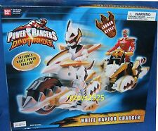"Power Rangers Dino Thunder White Raptor Charger w 5"" White Ranger Factory Sealed"