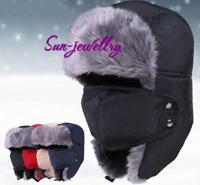 Leather Winter Trapper Aviator Trooper Earflap Warm Ski Cap Hat For Men Women AL