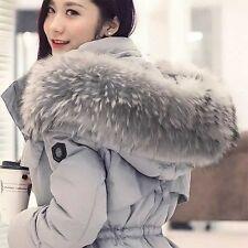 Plus Size Winter Warm Women Lady Faux Fur Hood Real Duck Down Parka Coat New