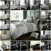 Luxury Duvet Cover Set Double King Size Quilt Modern Bedding Silver Grey Black