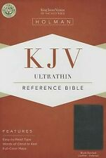 KJV Ultrathin Reference Bible, Black Bonded Leather Indexed .. NEW