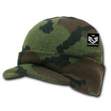 Green Camo Visor Beanie Jeep GI Knit Camouflage Military Warm Winter Cap Hat