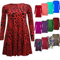 Women's Ladies Plain Long Sleeve Swing Dress Flared Skater Dress Top Size 8-26