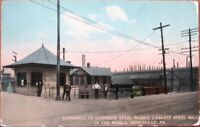 Homestead, PA 1910 Postcard: Carnegie Steel Works Entrance, Bicycles