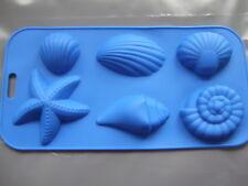 Silicona Molde 6 Seashell océano formas Cera, Chocolate, Jabón, Hielo, Dulces, mazapán