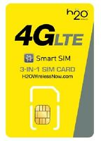 NEW H2O Wireless Triple SIM CARD w/ $30 LTE UNLIMITED CALLING AT&T 1 Month Free