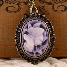 Antique Punk Victorian Purple Rose Pocket Watch Quartz Pendant Necklace Chain