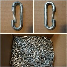 "Stainless Steel Carabiner Style Snap Hook Breach Clip 5/16"" Eye 500 Count."
