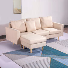 3 Seater Linen Fabric Corner Sofa Armchair with Left or Right Footstool Couch UK