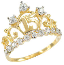 Yellow Gold Quinceañera 15 Años Conora CZ Crown Ring