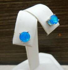 1.10ct Genuine Ethiopian Paraiba Neon Blue Opal Sterling Silver Stud Earring 6mm