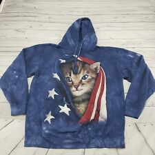The Mountain Hoodie Size Large Tie-Dye Pullover Sweatshirt Cat Kitten USA Flag