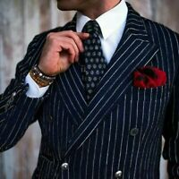 Navy Blue Stripe Men Suits Double Breasted Blazer Jacket Classic Groom Tuxedo