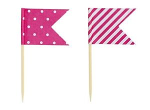 24 x Pink Cup Cake Toppers - Flags - Dots & Stripes - Cake Decorations