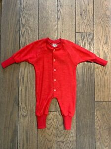 Cosilana Strampler / Overall / Schlafanzug mit Bündchen aus Wolle (Wollfrottee)