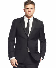 $795 DKNY Mens Extra Slim Fit Wool Tuxedo Suit Jacket Black Solid SPORT COAT 40L
