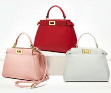 Fashion women real leather peekaboo style handbag messenger bag multi colors