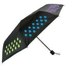 Colour Changing Waterproof Droplets Pattern Triple Folding Black Umbrella