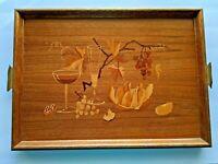 MCM Buchschmid Gretaux Hand Inlaid Wood Marquetry Tray Wine Fruit & Nuts B&G