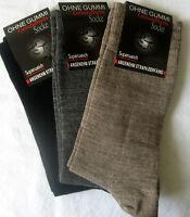 3 Paar Herren Socken ohne Gummi superweiche Wolle schwarz grau braun 43 bis 46