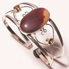 Natural Mookaite Citrine Silver Plated Handmade Cuff Bracelet FITS ALL SIZE