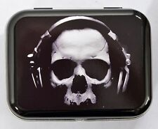 SKULL WITH HEADPHONES GOTH MUSIC DJ RAVE DANCE SKELETON HINGED TIN MINTS PILL