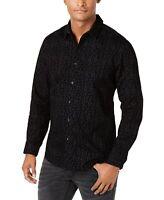 INC Mens Shirt Black Size Large L Button Up Flocked Floral Velvet $69 #087