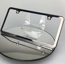 Black Chrome License Plate Slim 2 Hole Frame w/ Aluminum Circle Type Screw Caps