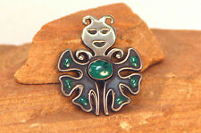 """Taxco Sterling Silver Pin with Malachite 2"""""""