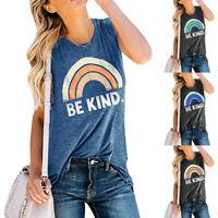 Summer Women Sleeveless Be Kind Rainbow Printed Casual Tank Vest Tops T-Shirt UK