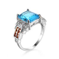 Rectangle Ocean Blue Topaz Honey Morganite Gemstone Silver Woman Ring Size 6-10