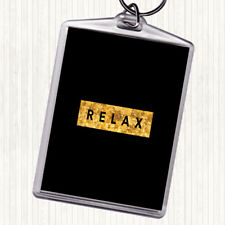 Black Gold Dark Relax Quote Bag Tag Keychain Keyring